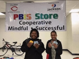 Participating in the PBIS store at Callaway Middle School