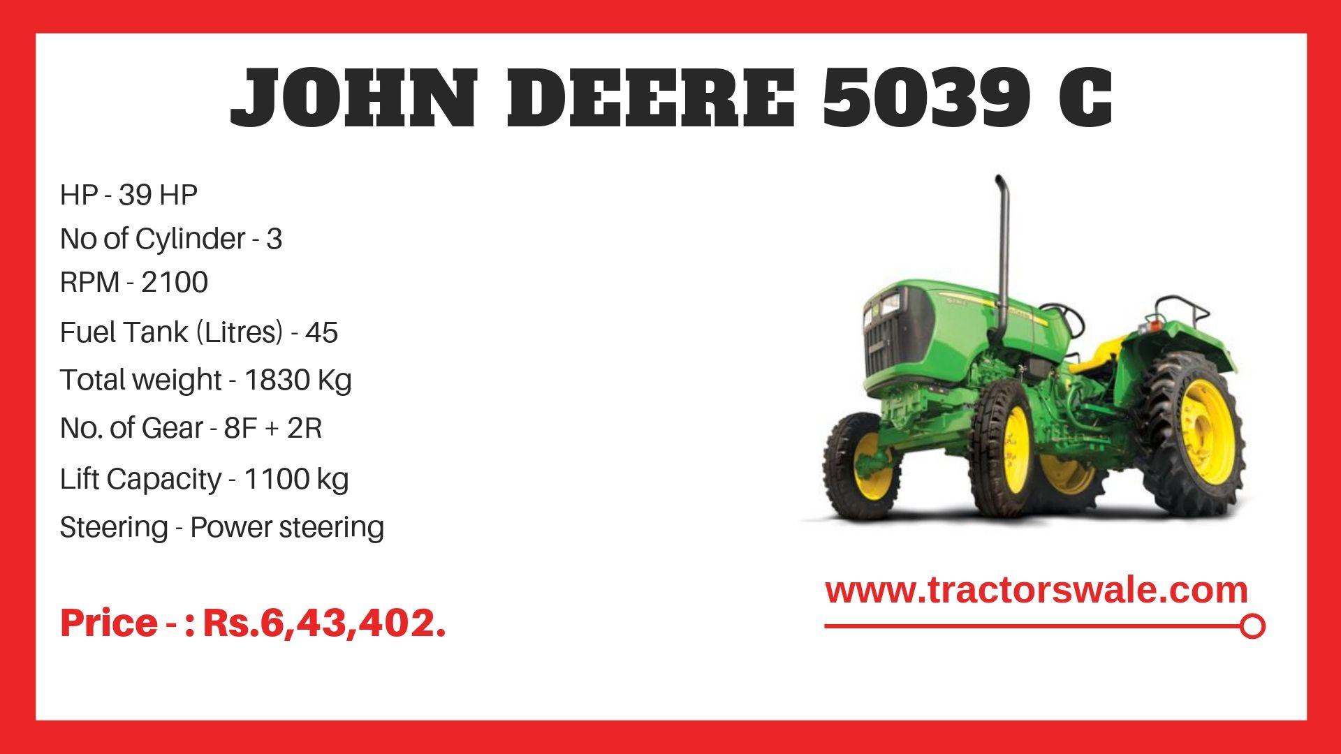 John Deere 5039 C Specifications