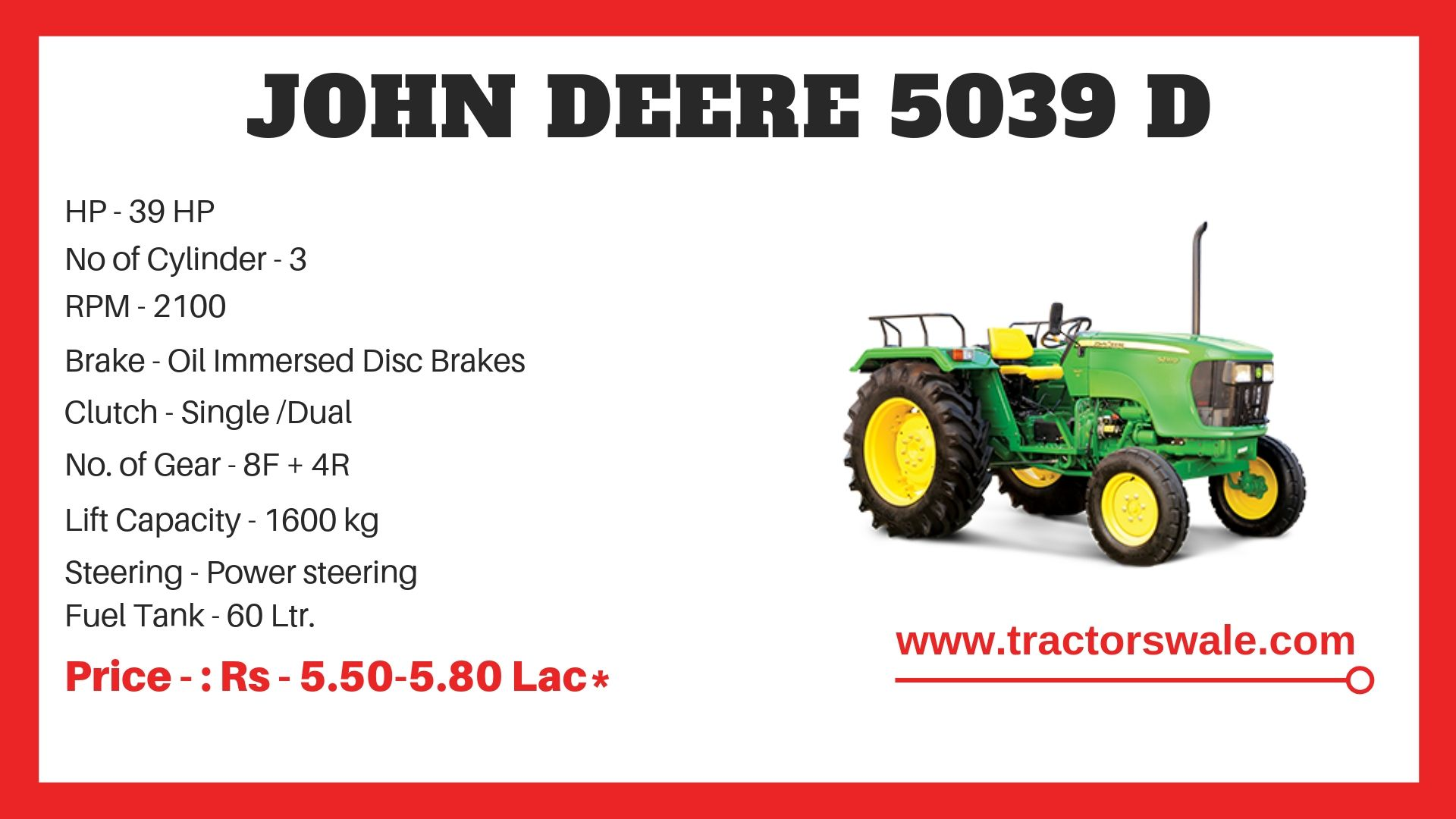John Deere 5039 D Tractor Specifications
