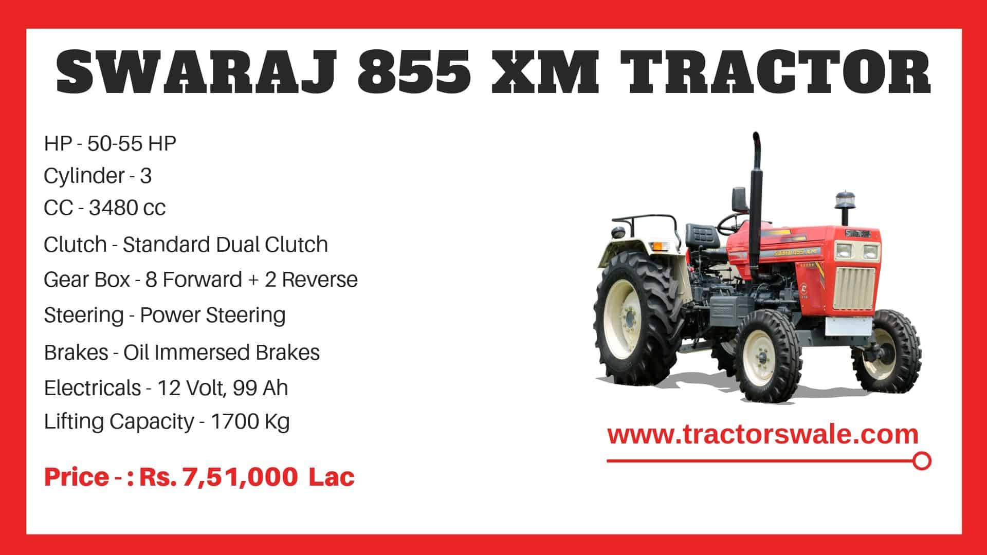 855 XM Specifications