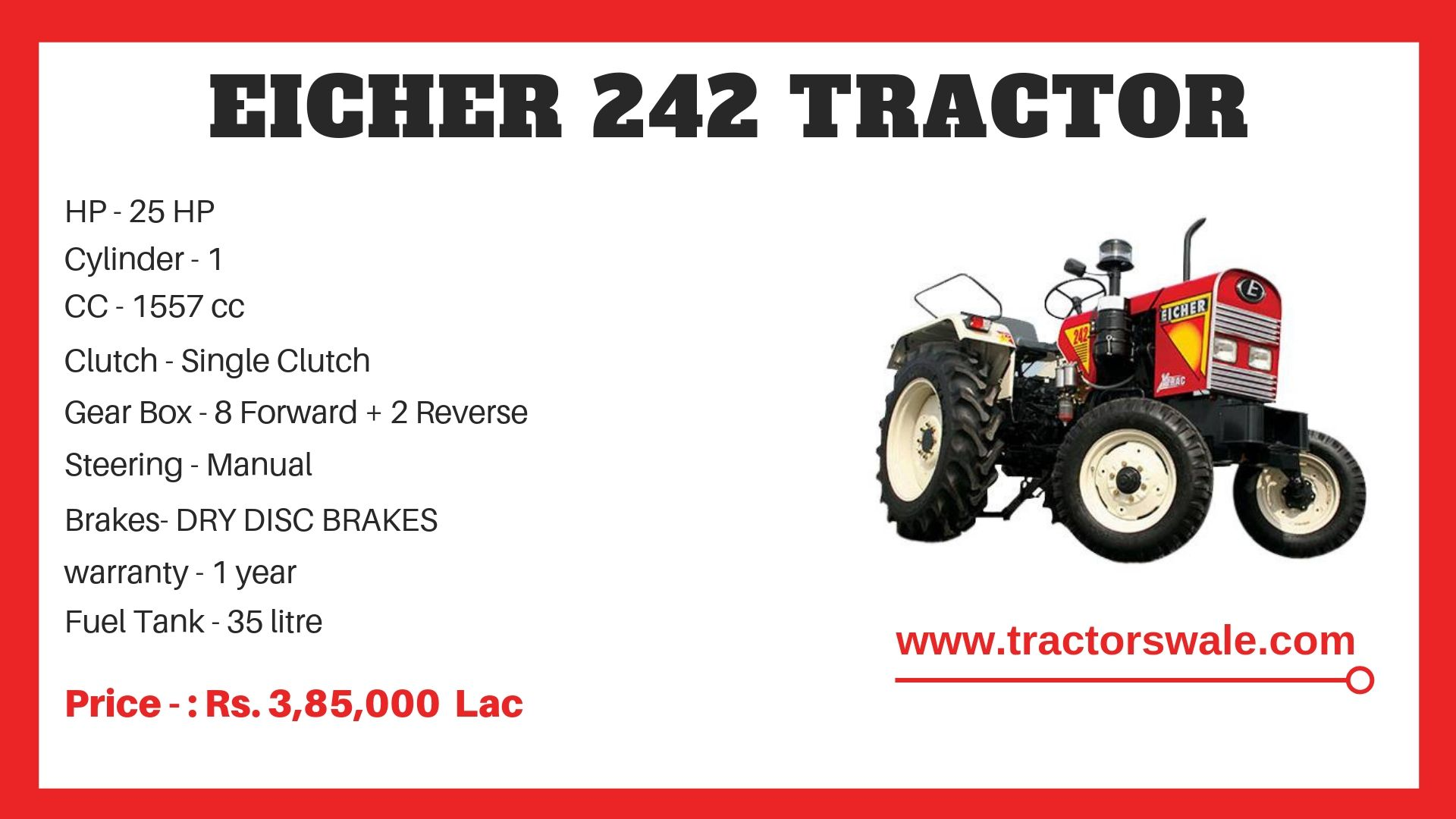 Eicher Tractor 242 Specifications