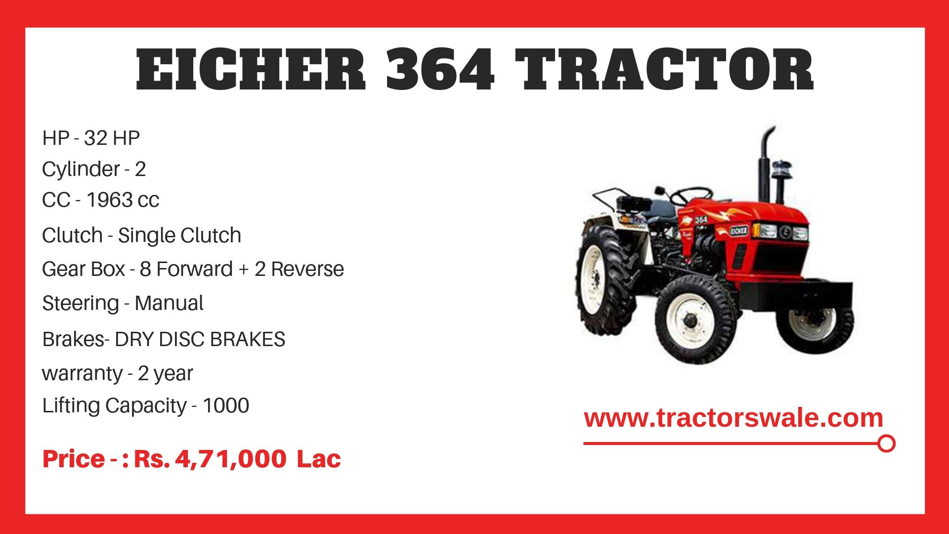 Eicher Tractor 364 Specifications
