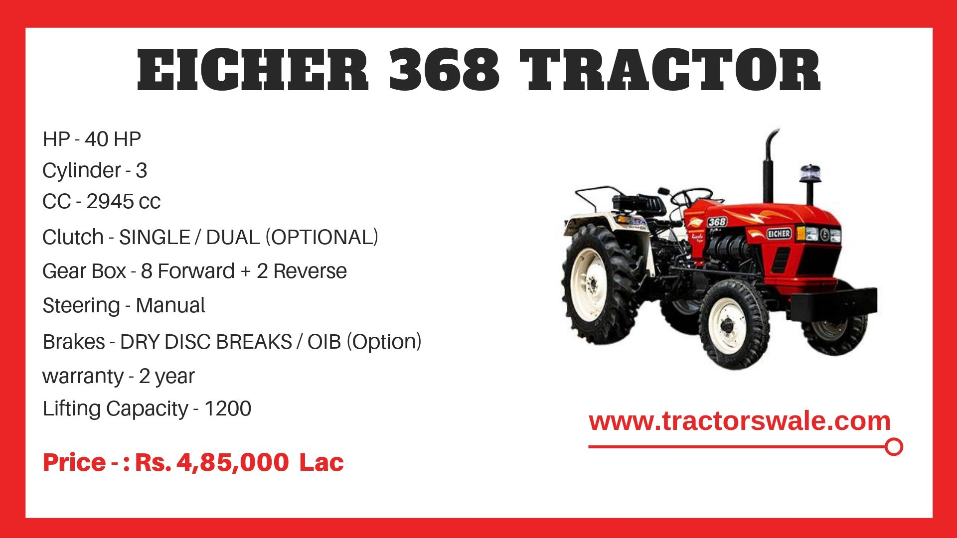 Eicher Tractor 371 Specifications