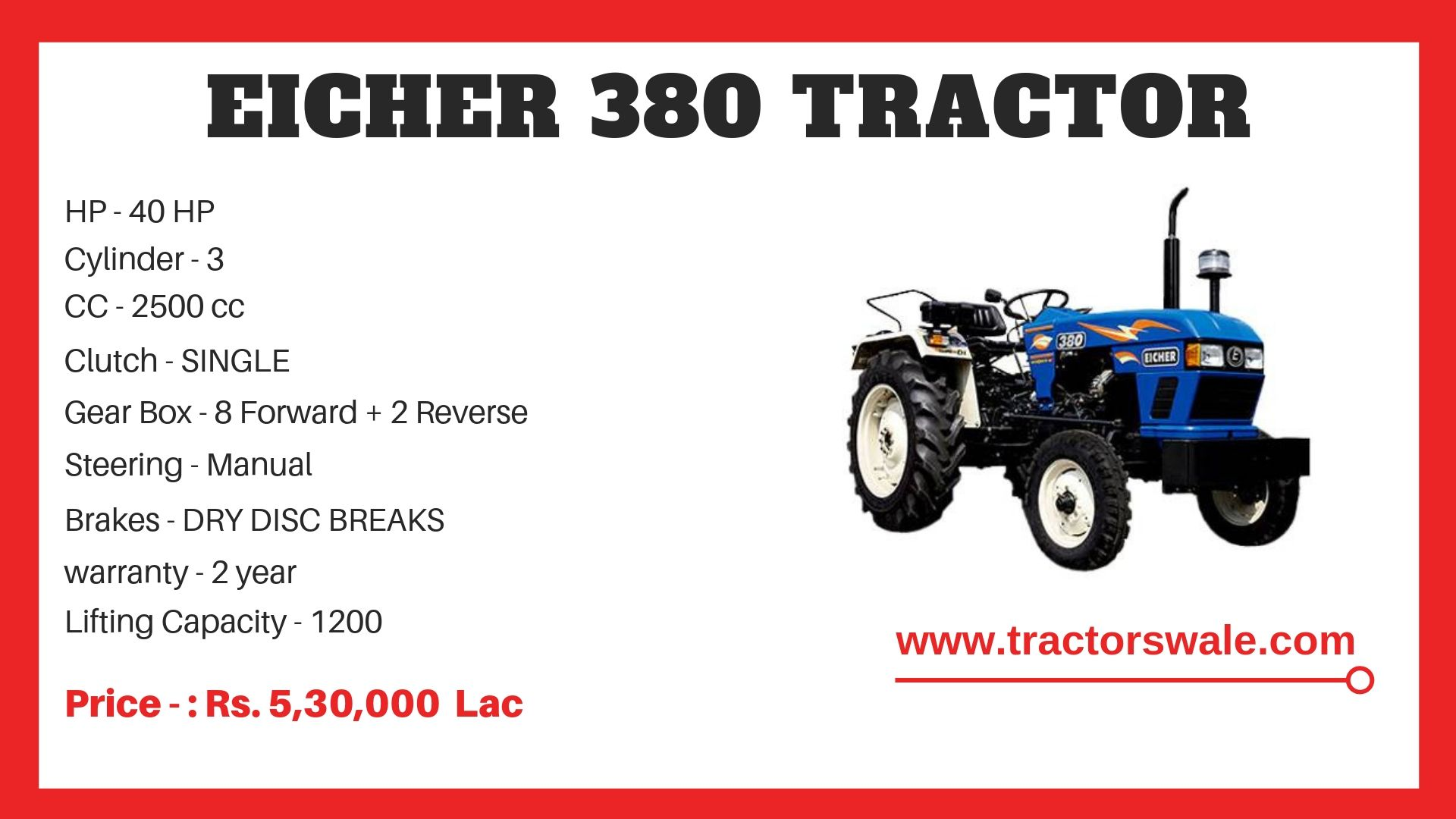 Eicher Tractor 380 Specifications