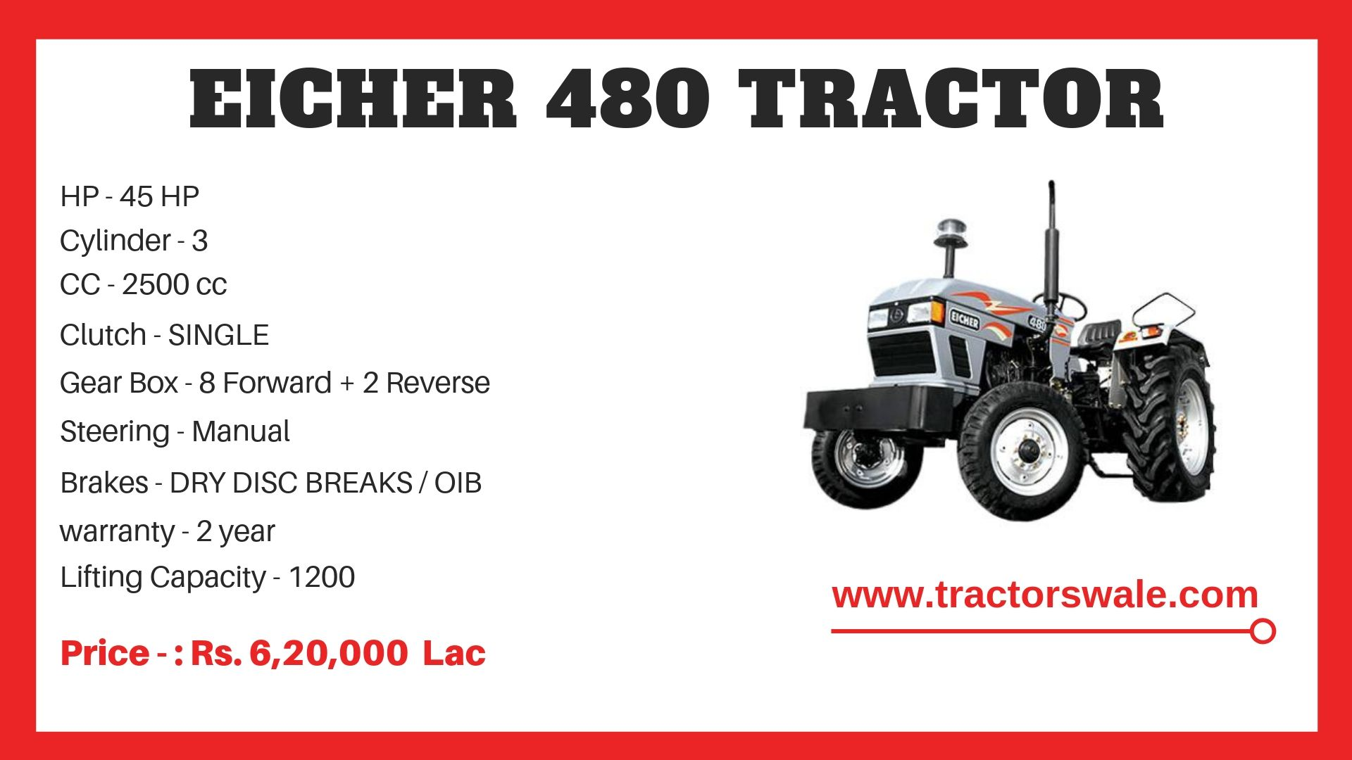Eicher Tractor 480 Specifications