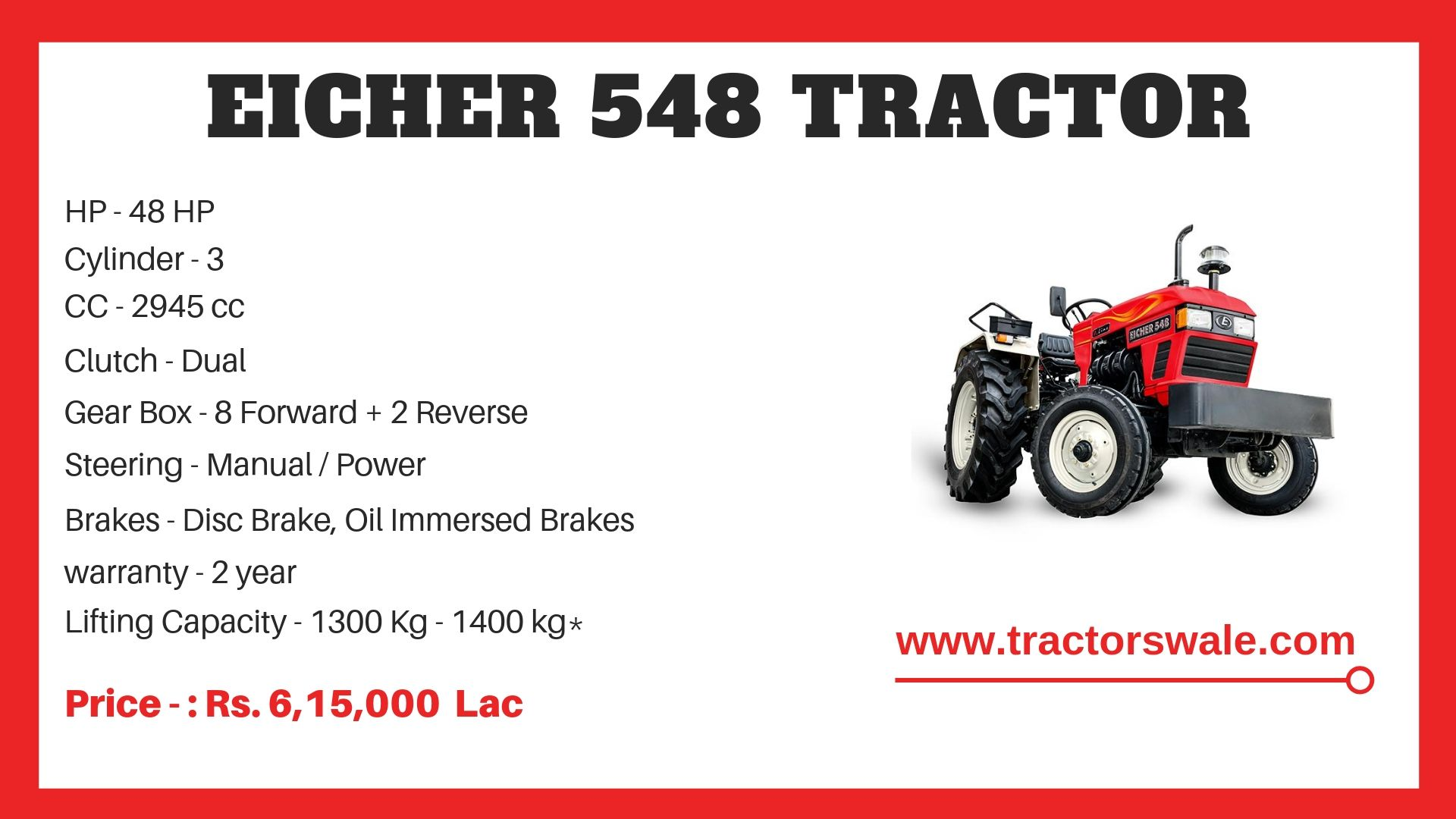 Eicher Tractor 548 Specifications