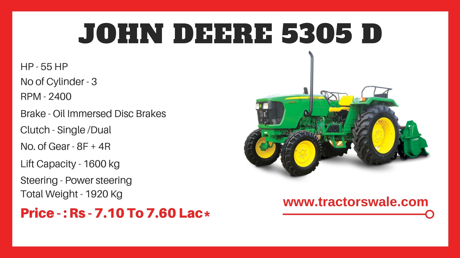John Deere 5305 D Tractor Specifications