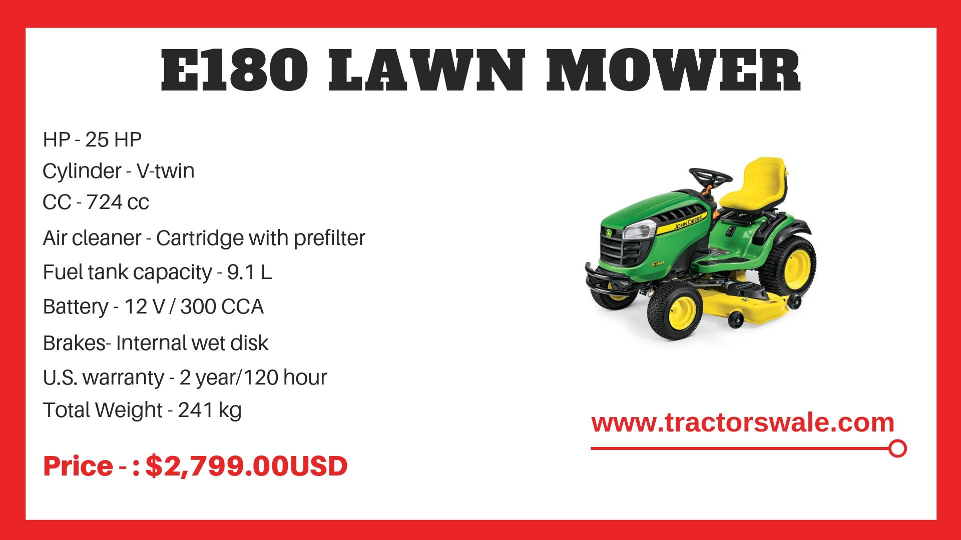 John Deere Tractor e180 Specifications