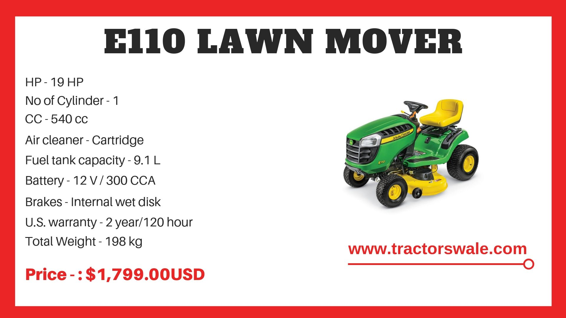 Lawn Mower E110 Specifications