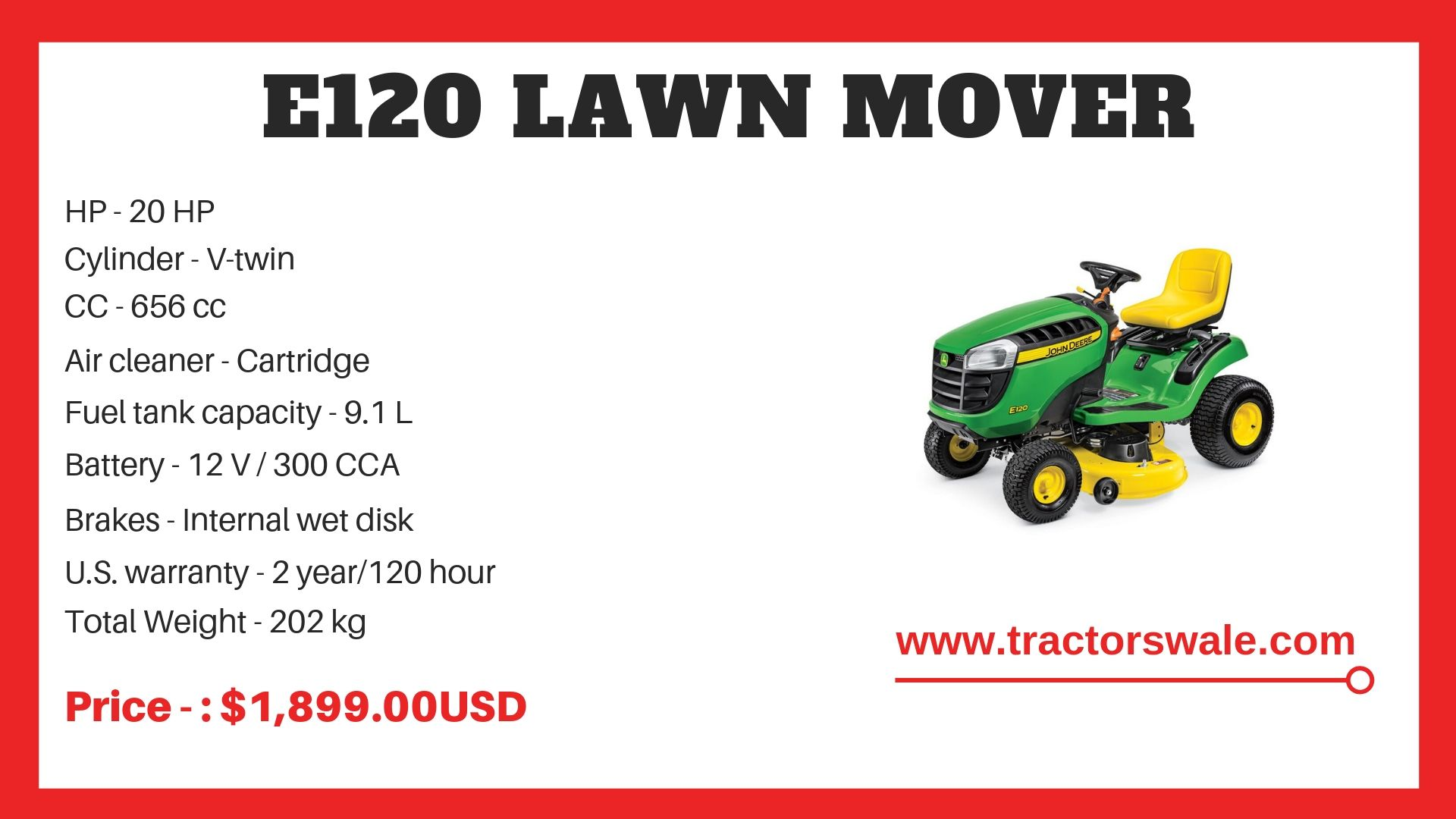 Lawn Mower E120 Specifications