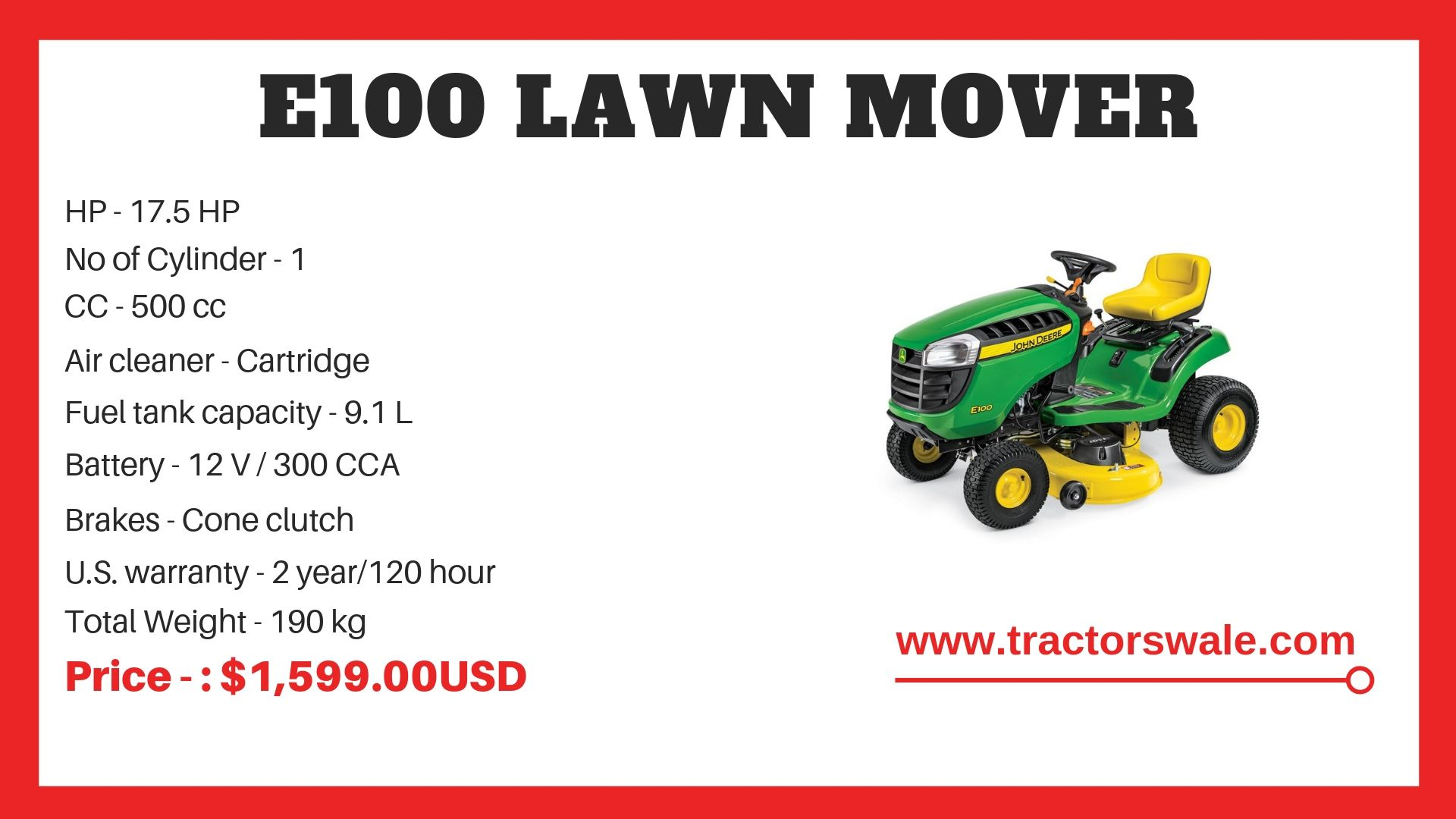 Lawn tractor E100 Specifications