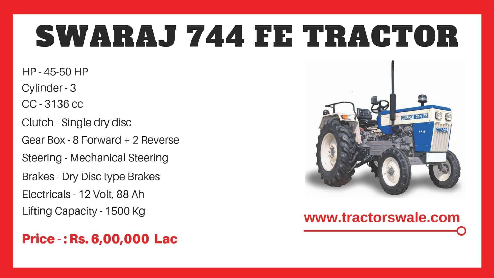 Specification of Swaraj 744 FE Tractor