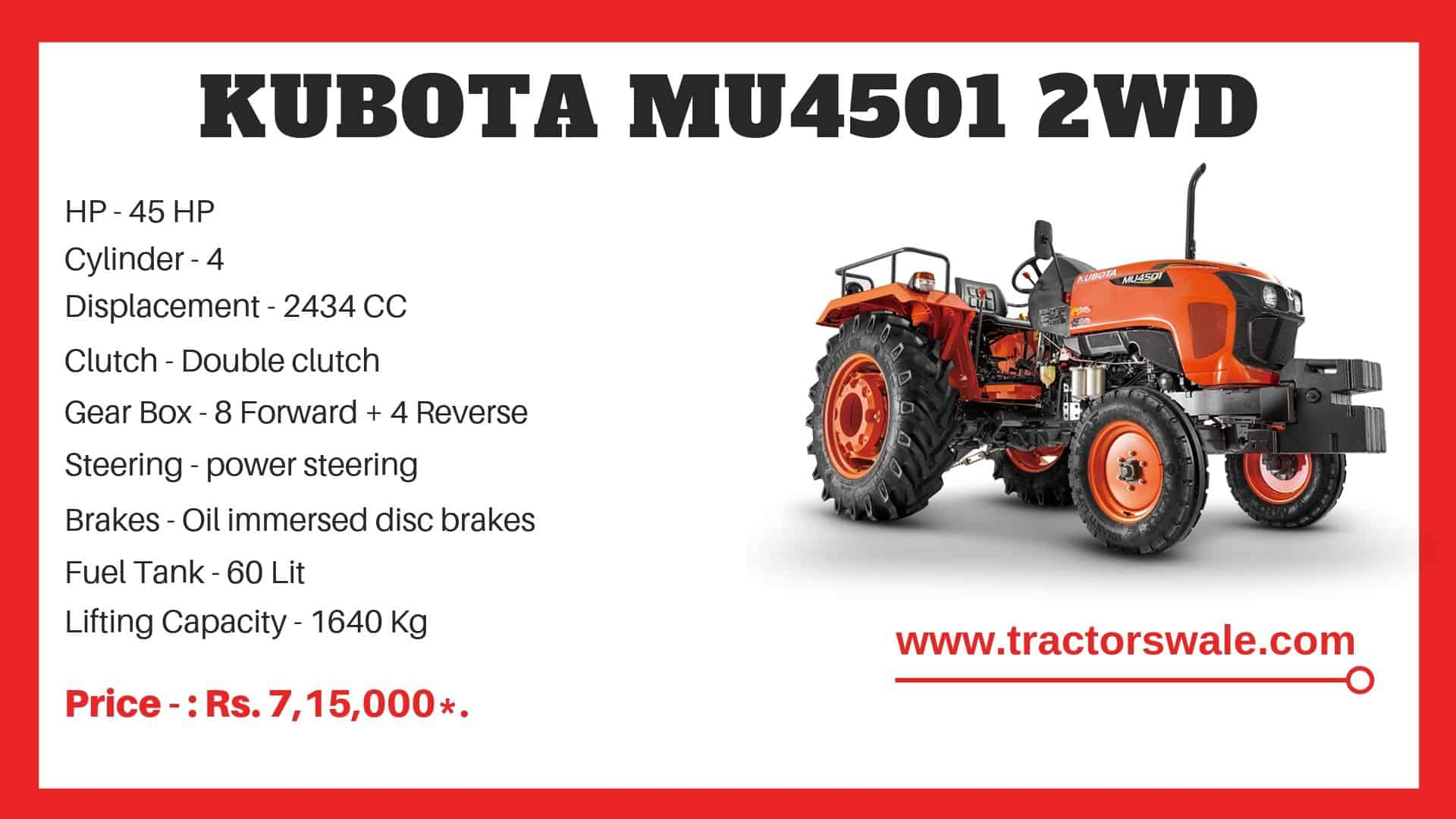 Kubota MU4501 2WD tractor specifications