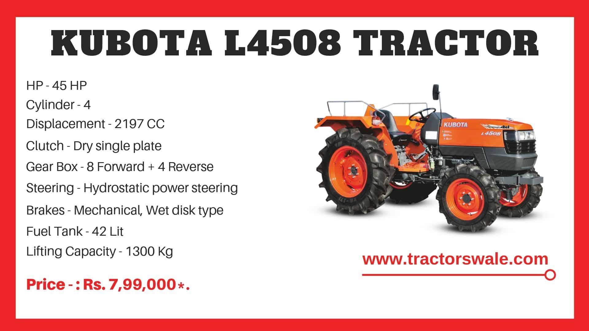 Kubota l4508 mini tractor specifications