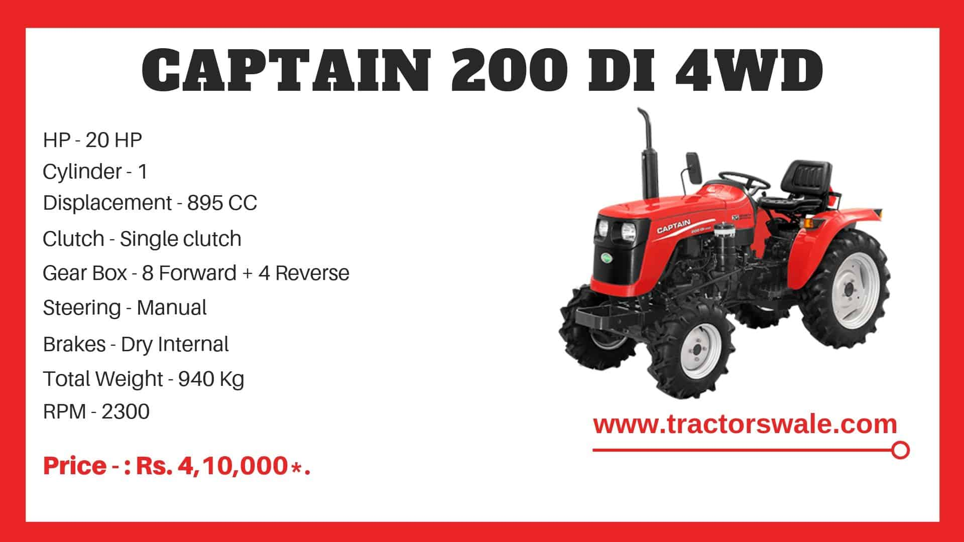 Specification of Captain 200 DI 4WD