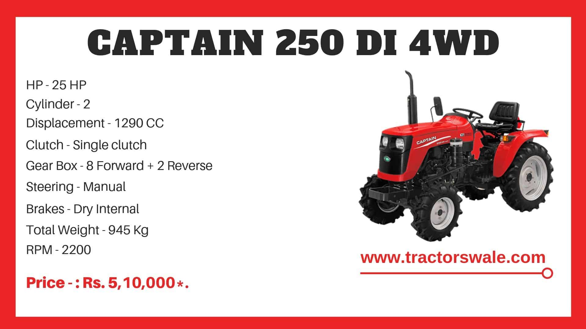 Specification of Captain 250 DI 4WD