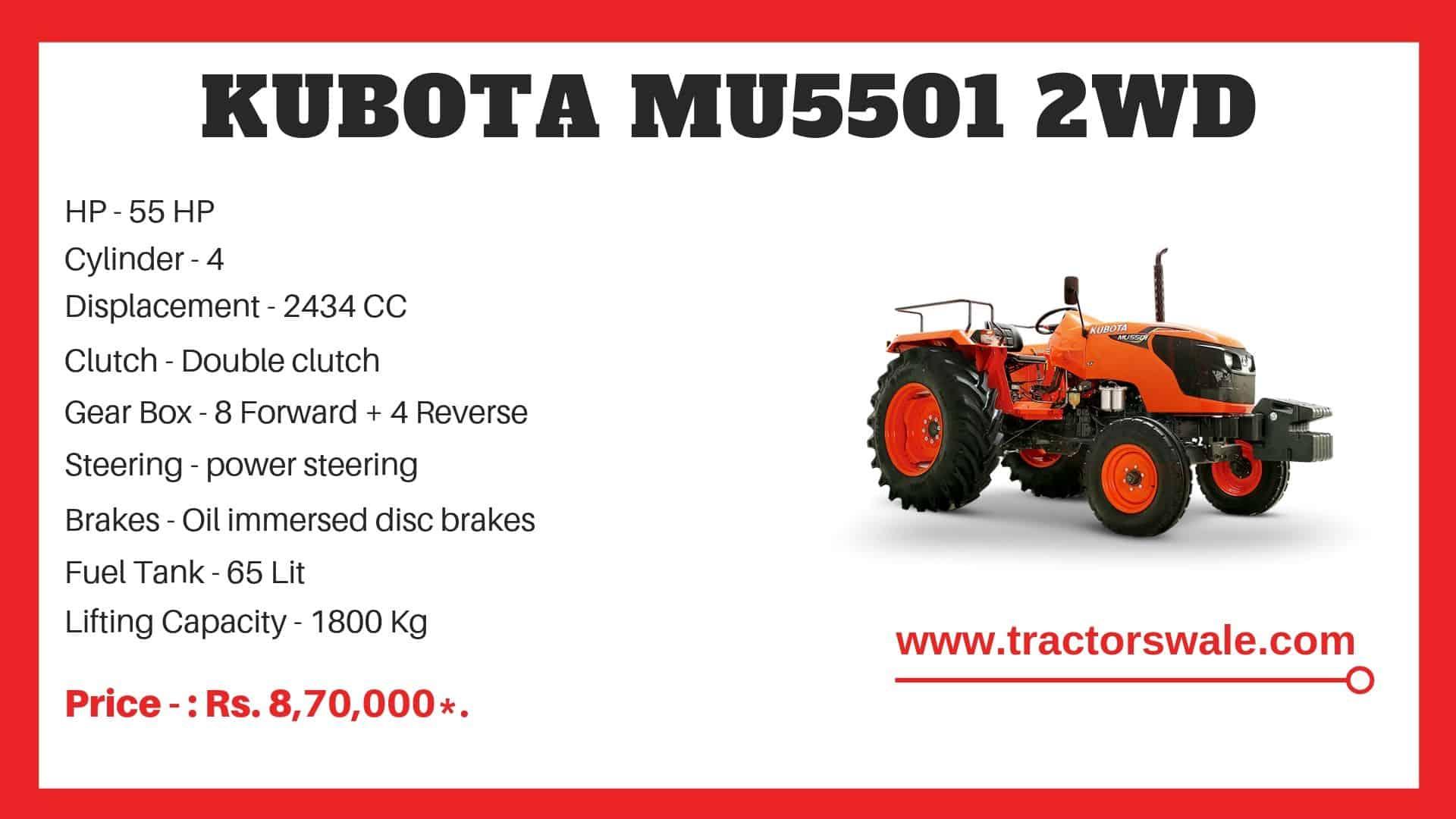 Specification of Kubota MU5501 2WD