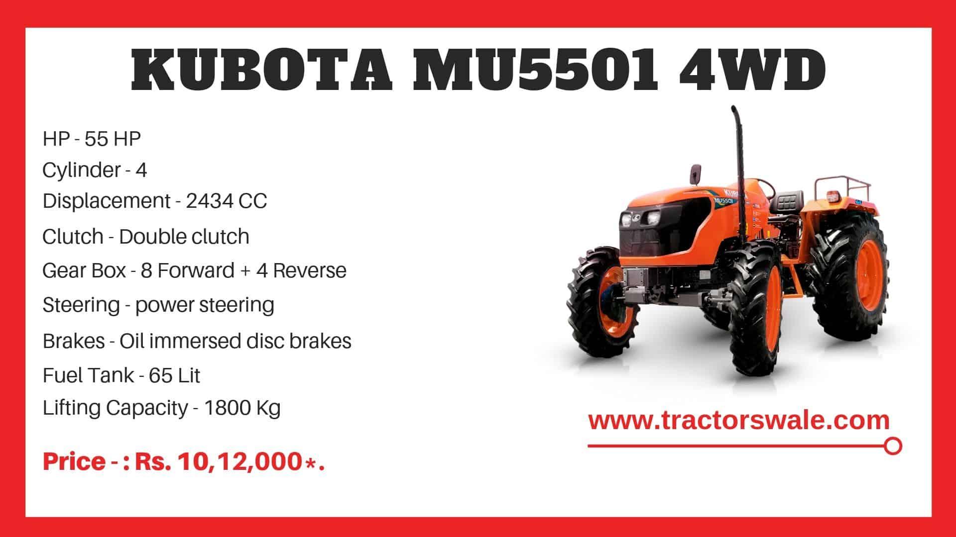 Specification of Kubota MU5501 4WD