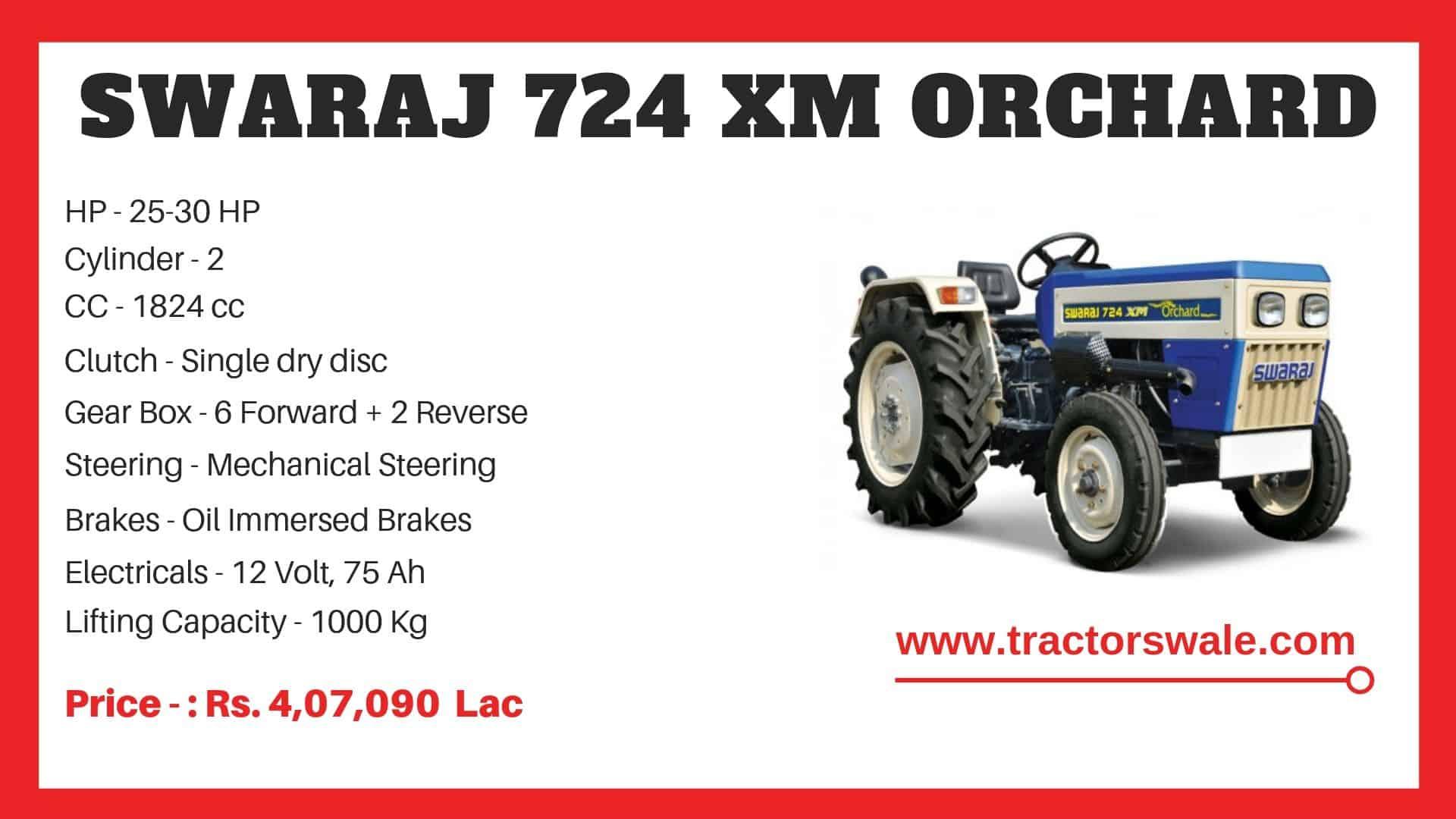 Specification of Swaraj 724 XM ORCHARD