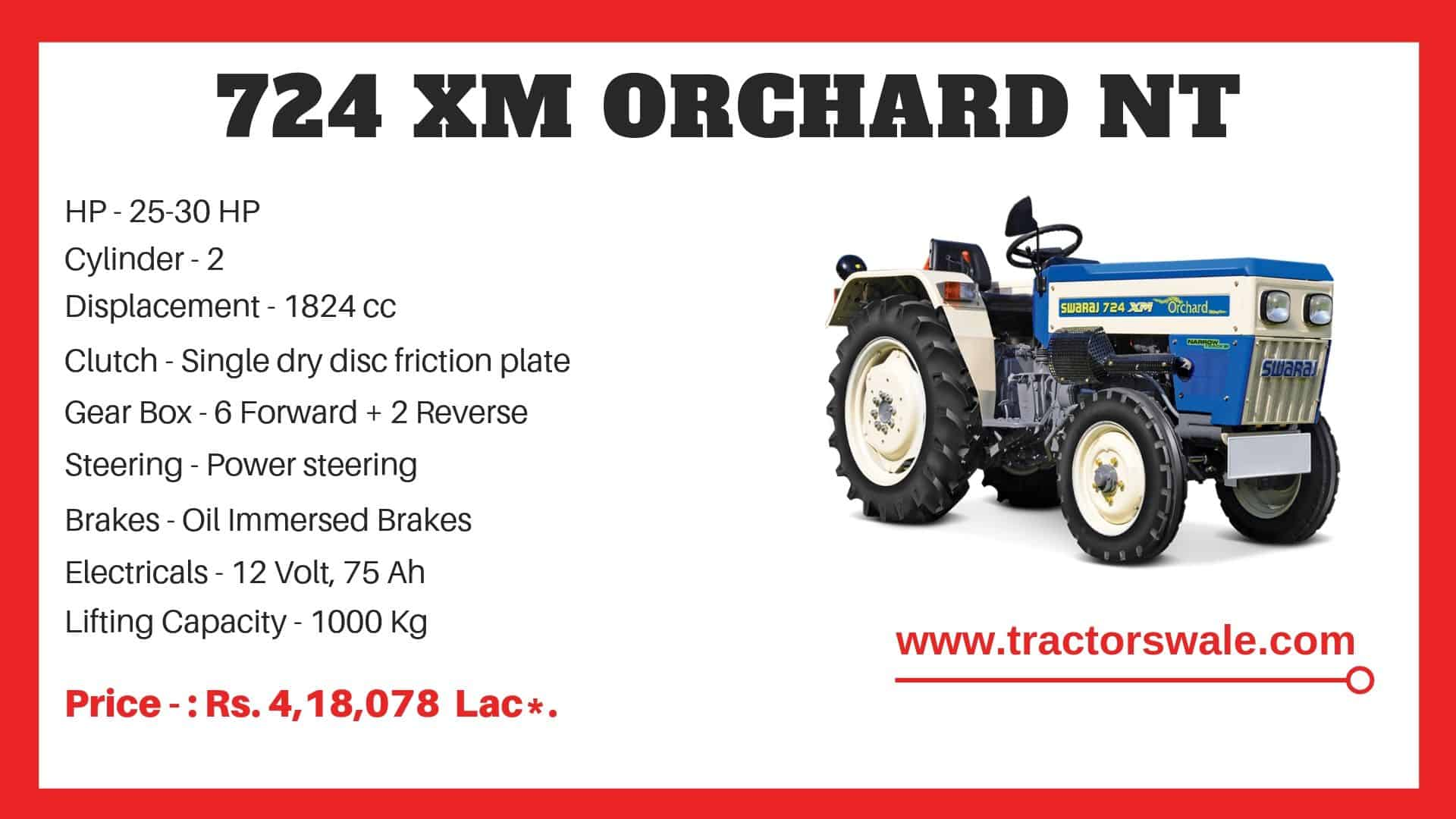 Specification of Swaraj 724 XM Orchard NT Tractor