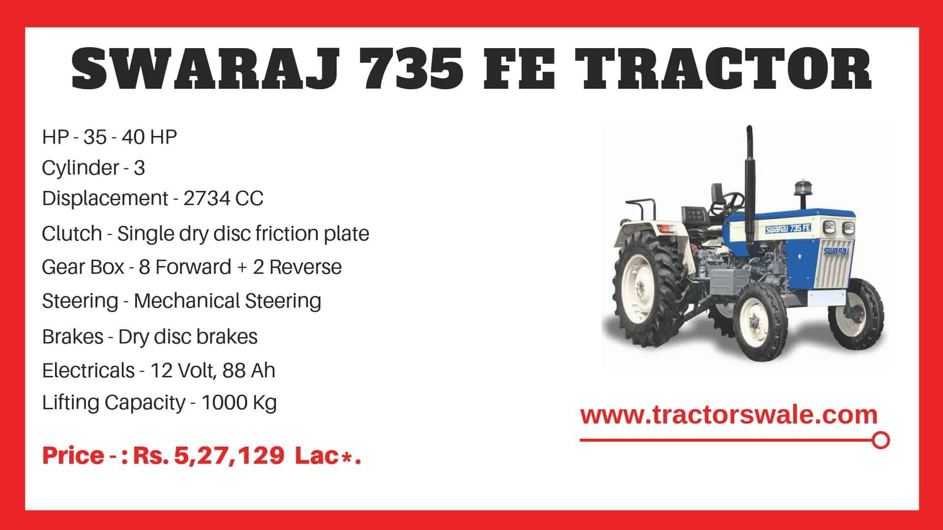 Specification of Swaraj 735 FE Tractor