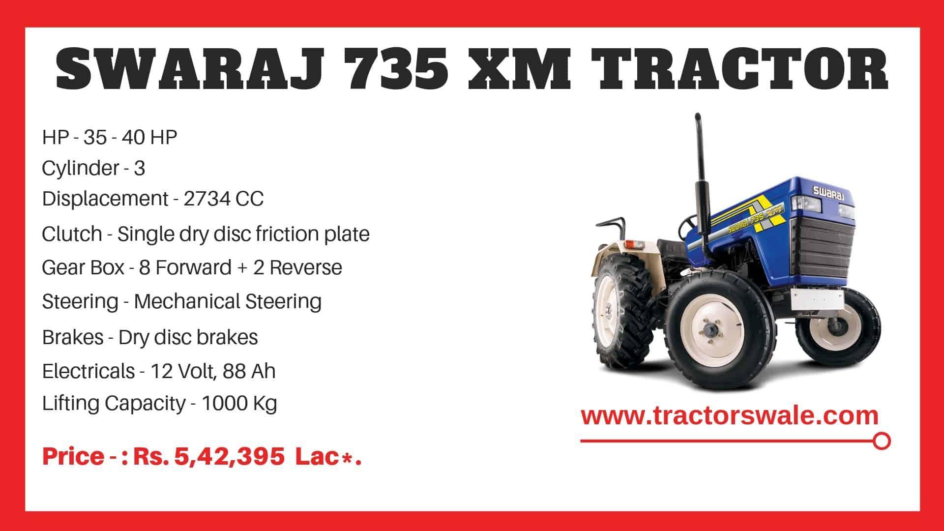 Specification of Swaraj 735 XM Tractor