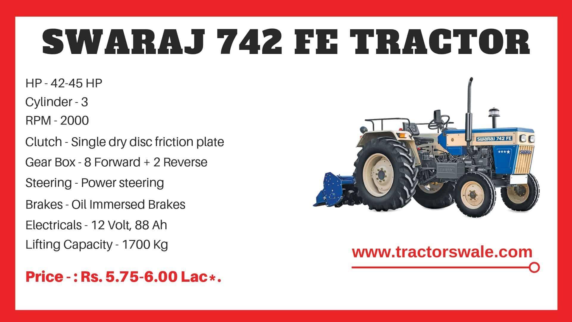Specification of Swaraj 742 FE Tractor Model