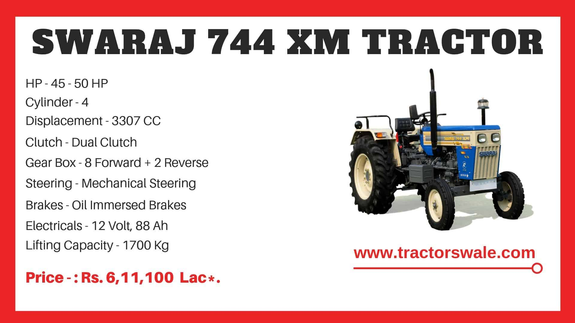 Specification of Swaraj 744 XM Tractor