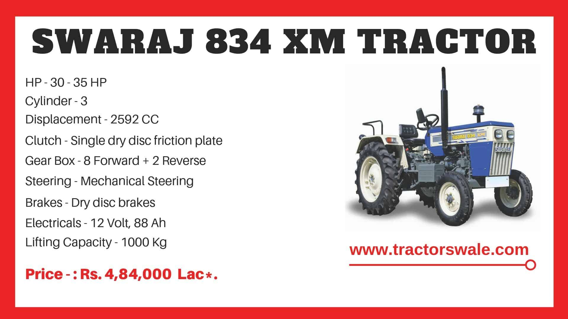 Specification of Swaraj 834 XM Track Tractor