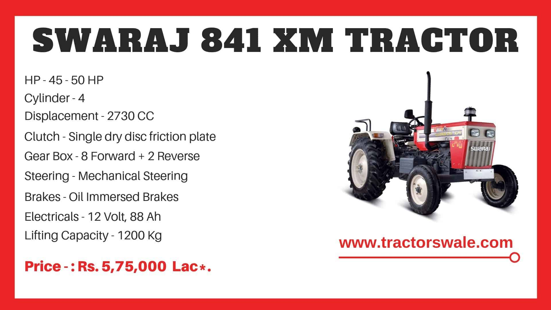 Specification of Swaraj 841 XM Tractor