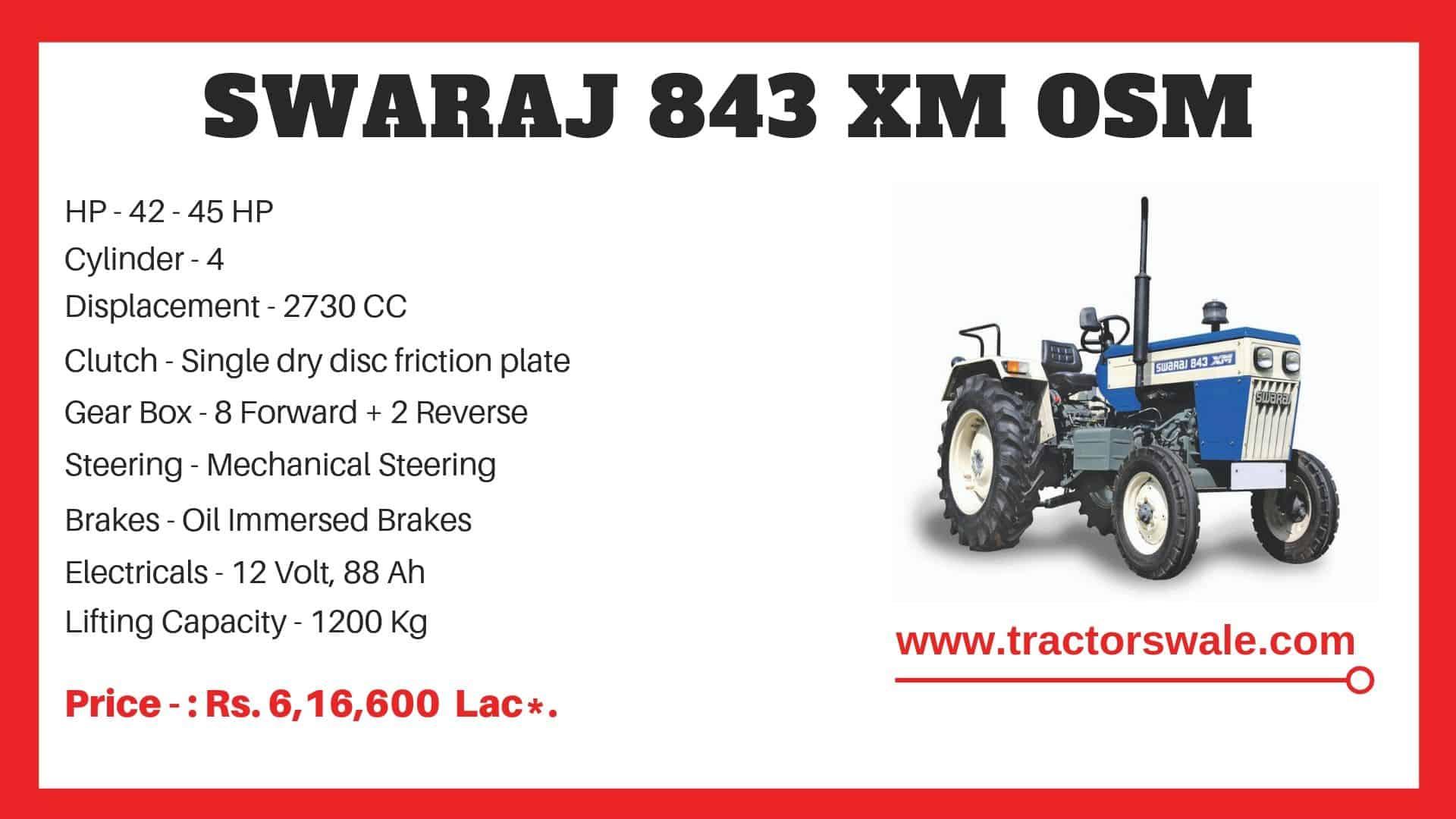 Specification of Swaraj 843 XM OSM Tractor