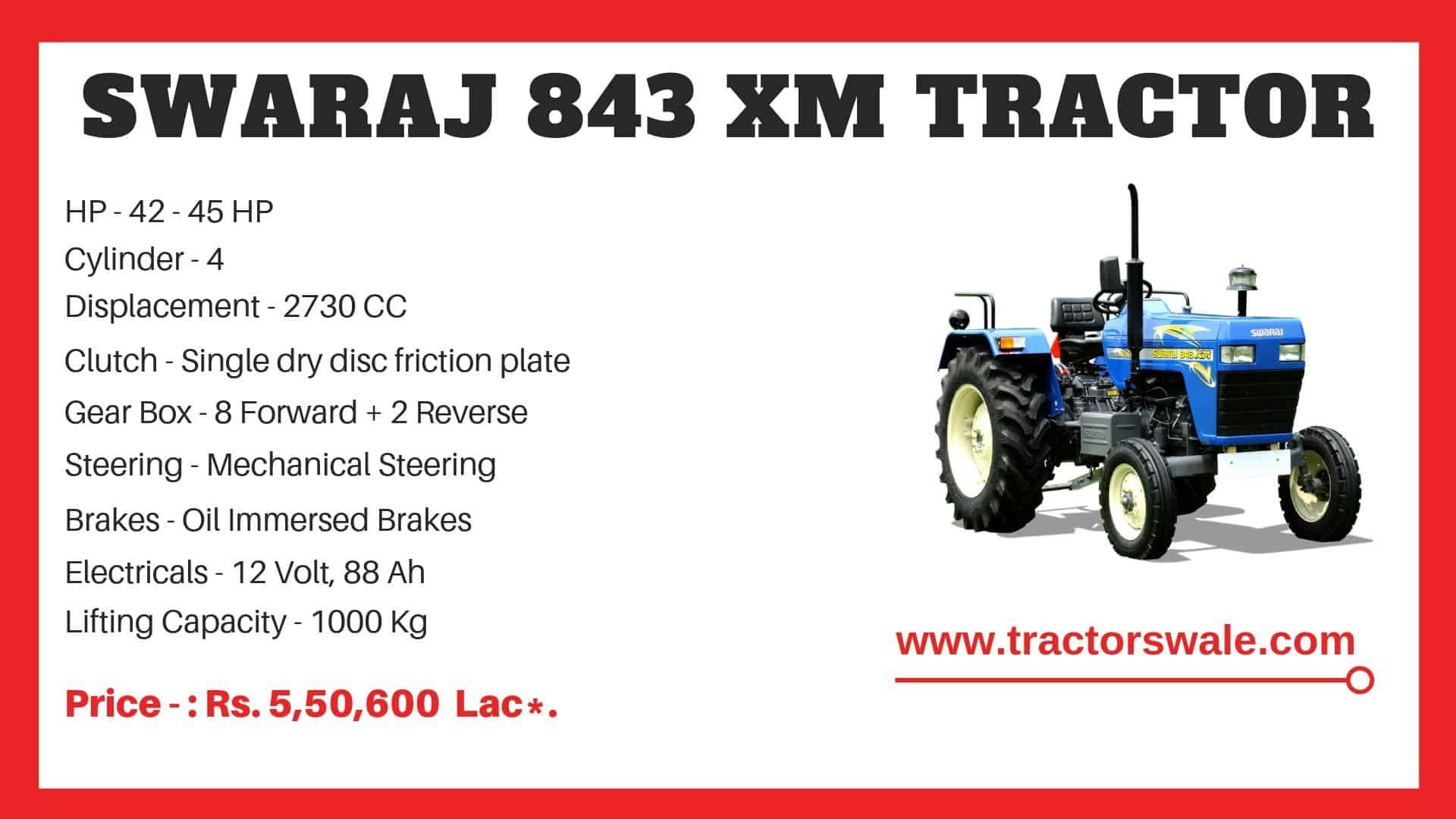 Specification of Swaraj 843 XM Tractor