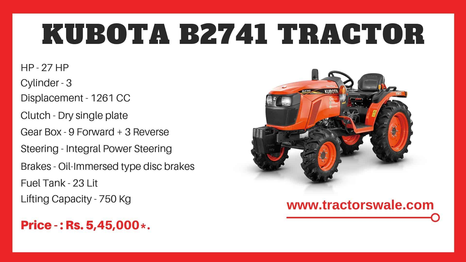 Specifications Of Kubota NeoStar B2741 Tractor