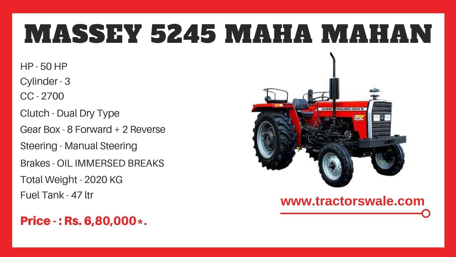 Specifications Of Massey Ferguson 5245 MAHA MAHAN