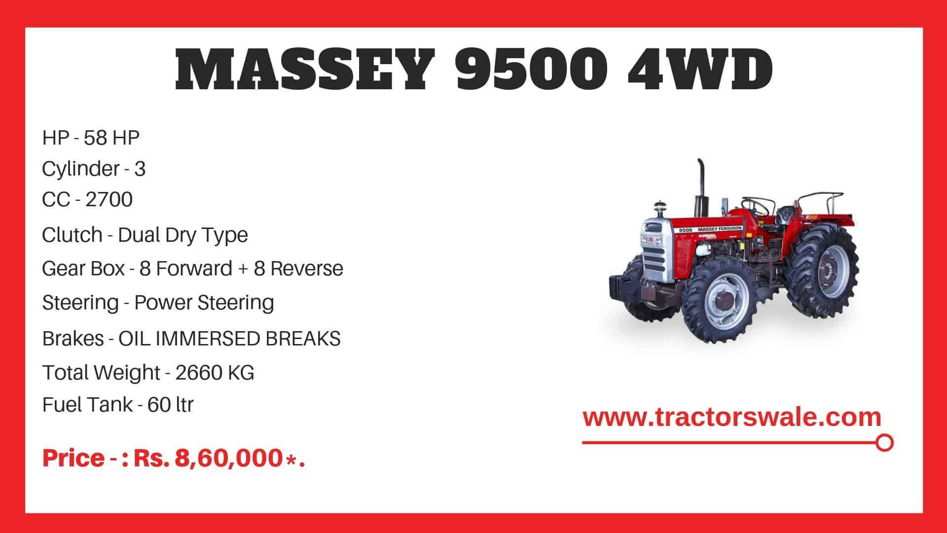Specifications Of Massey Ferguson 9500 4WD