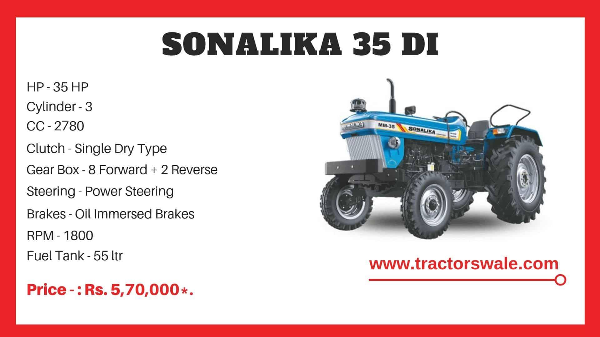 Sonalika 35 DI tractor specs