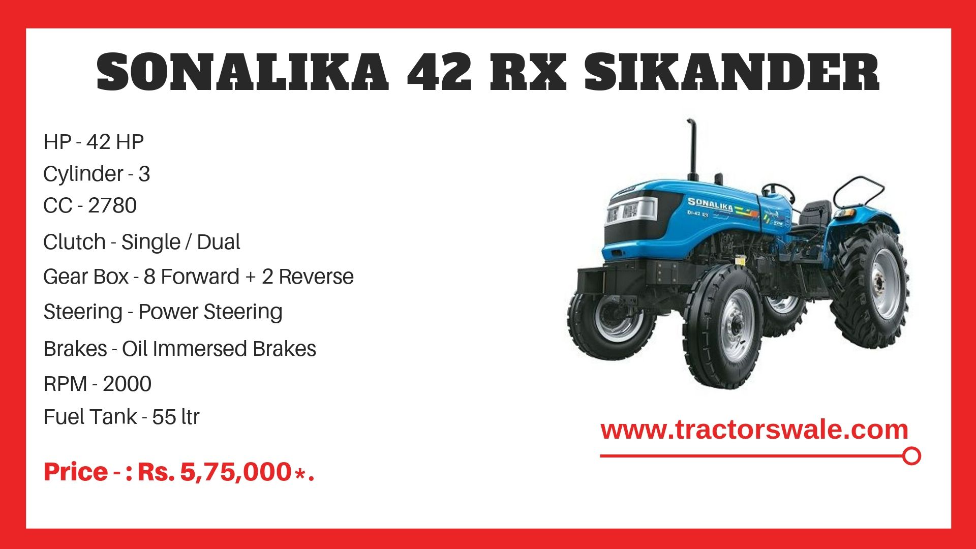 Sonalika 42 RX Sikander tractor specs