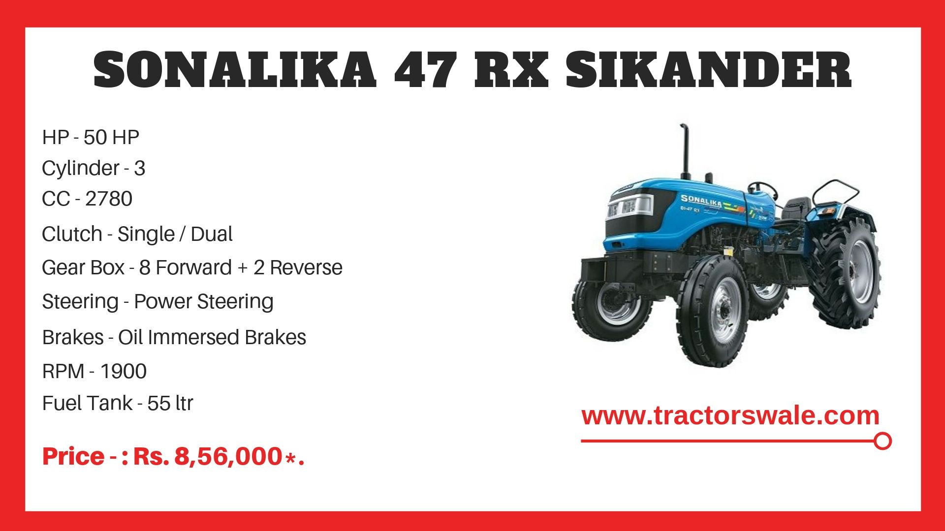 Sonalika 47 RX Sikander tractor specs