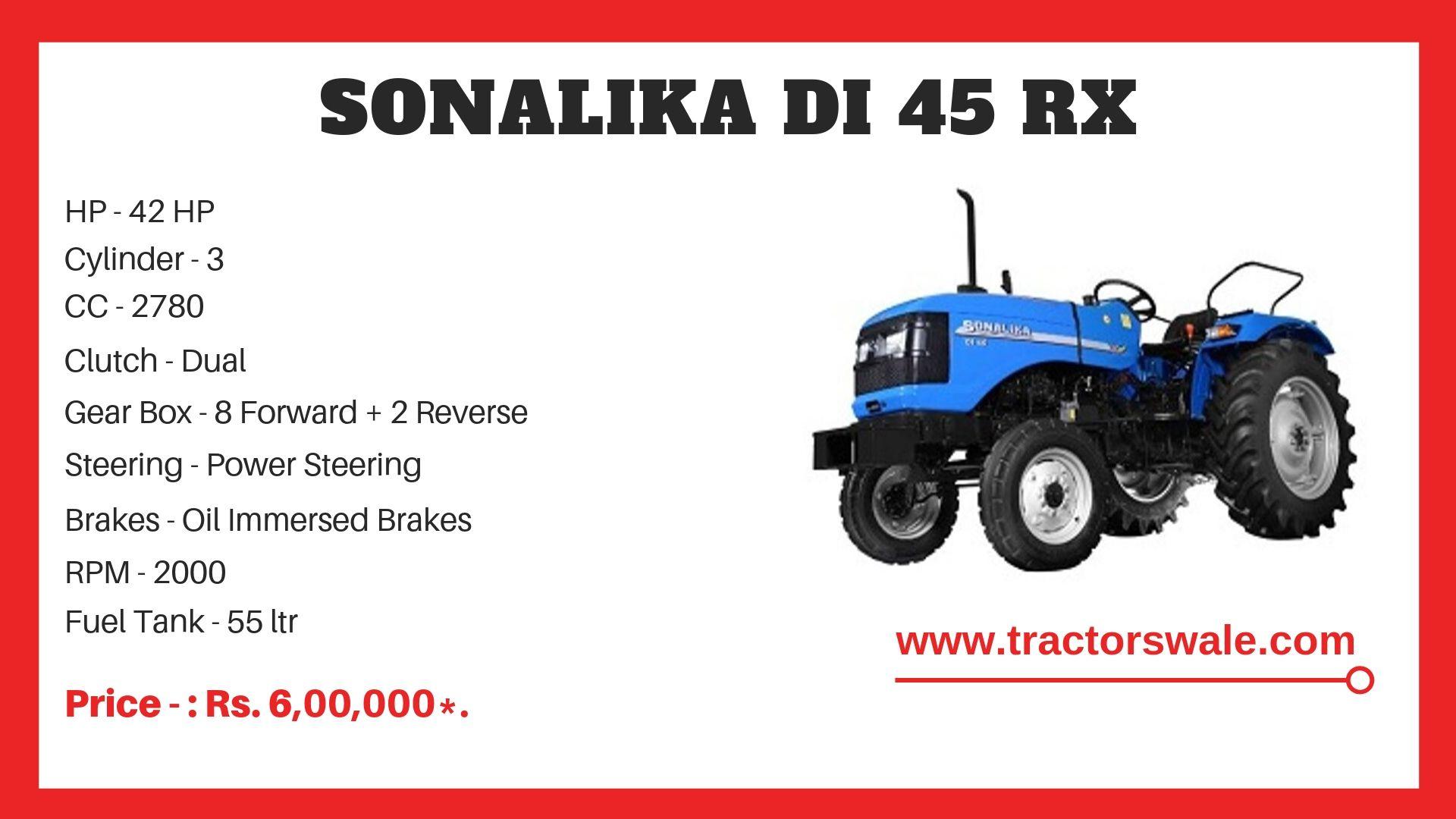 Sonalika DI 45 RX tractor spwcs