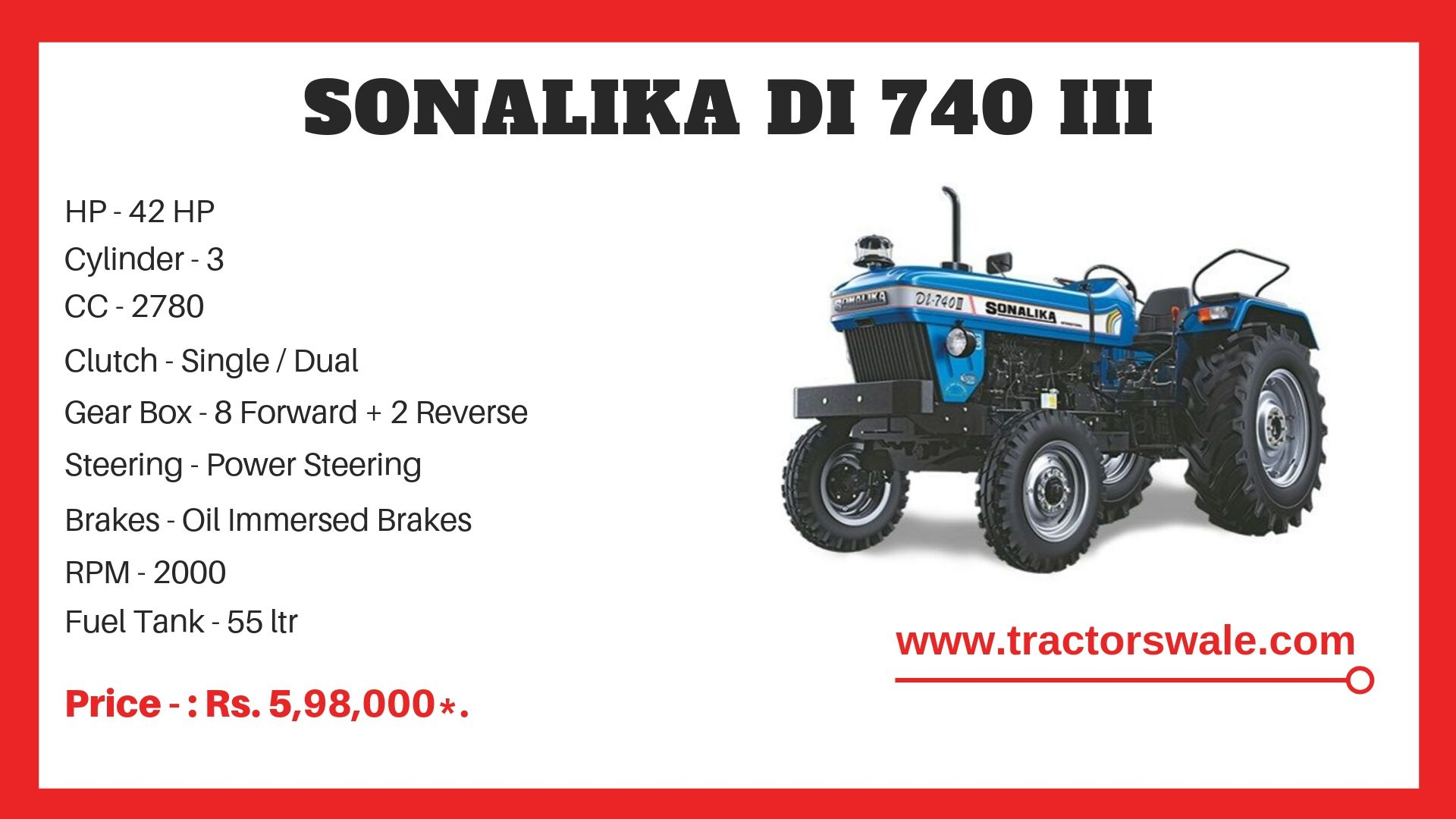 Sonalika DI 740 III tractor specs