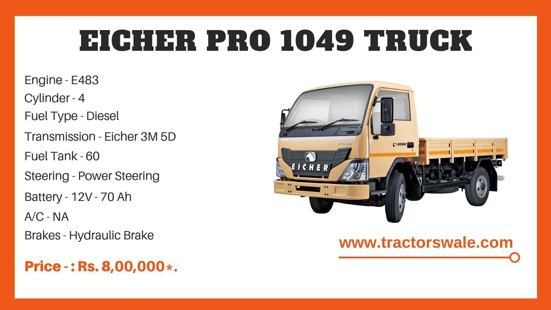 Specification Of Eicher Pro 1049 Truck