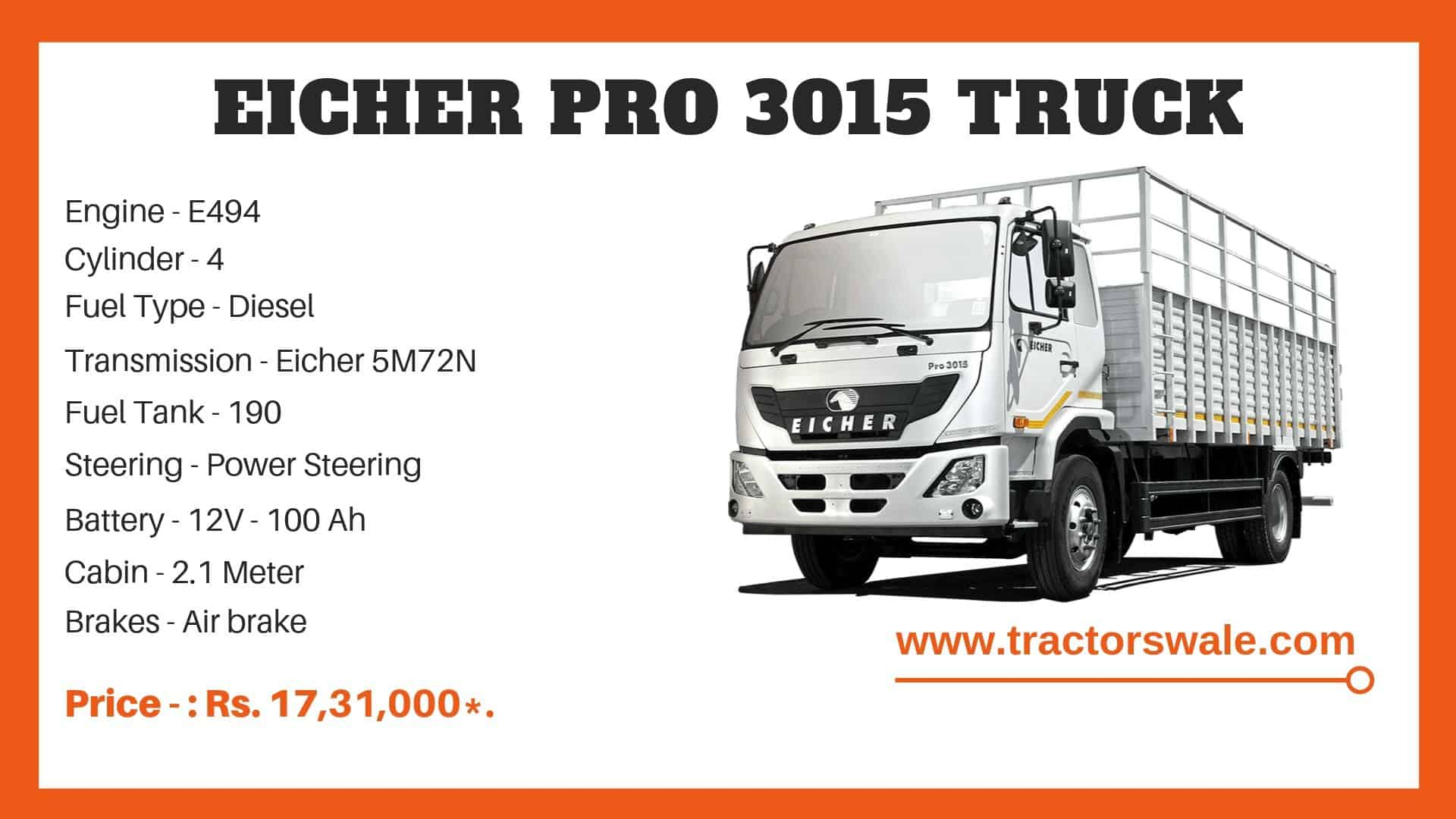 Specification Of Eicher Pro 3015 Truck