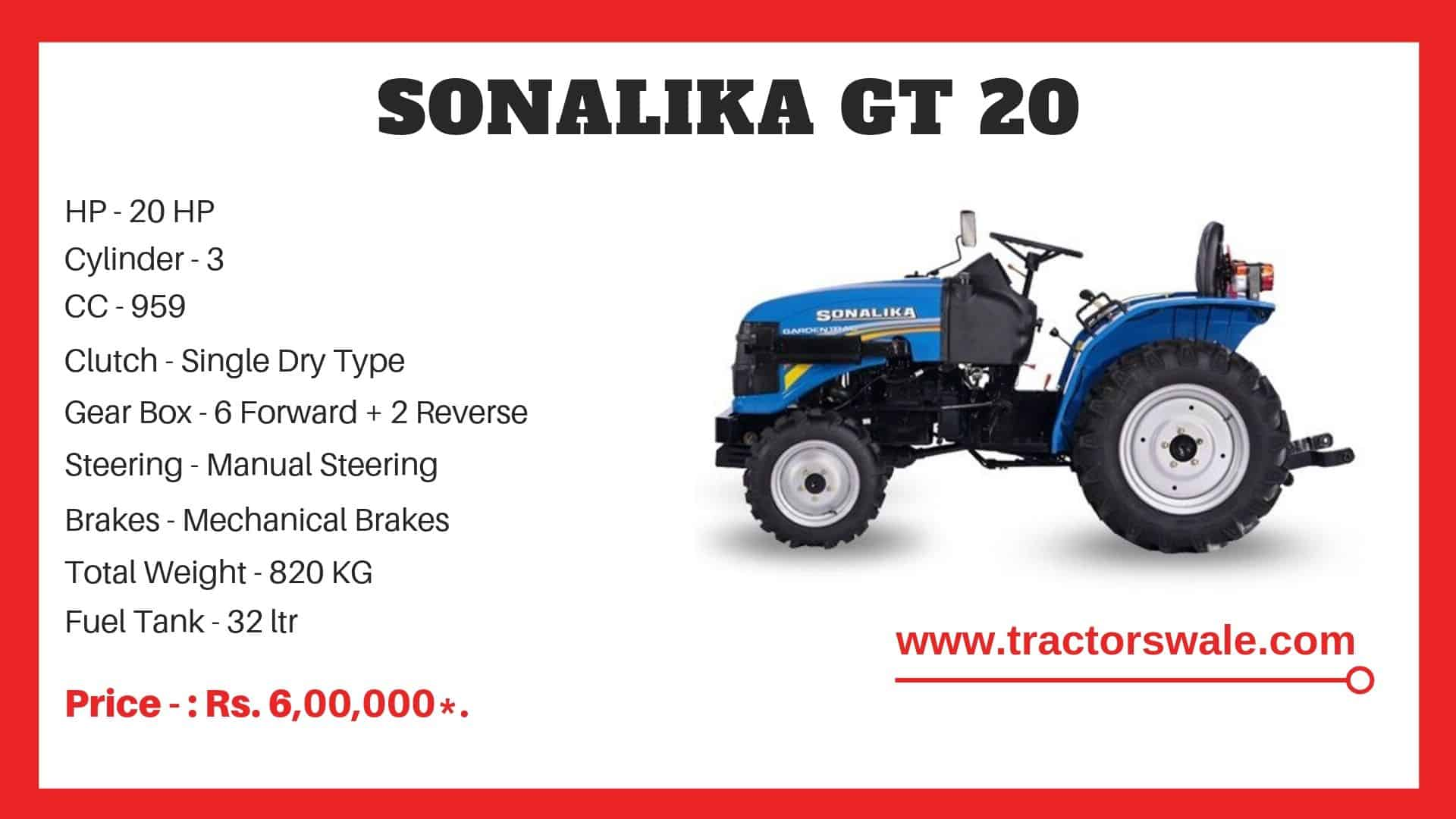 Specifications Of Sonalika GT 20 Tractor