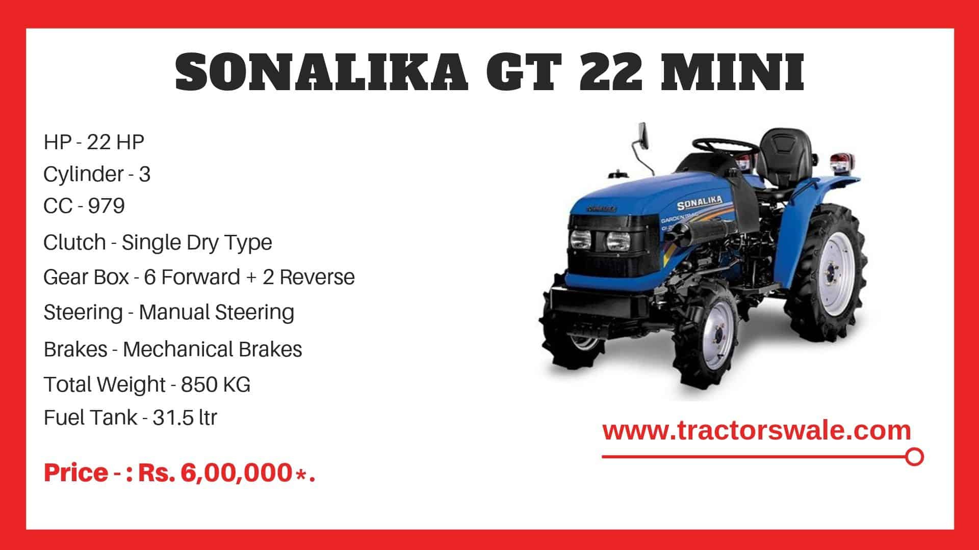 Specifications Of Sonalika GT 22 Mini Tractor