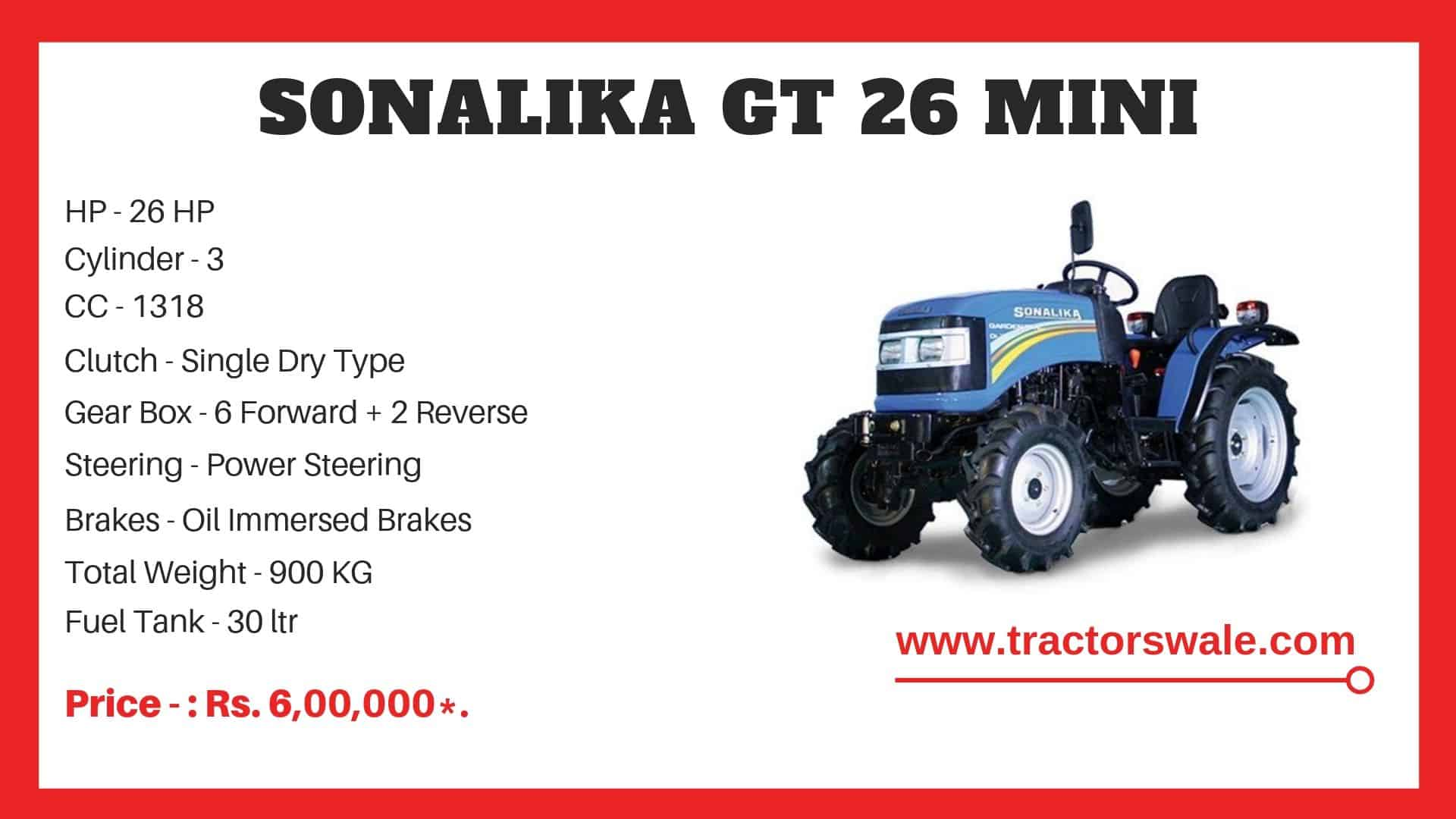Specifications Of Sonalika GT 26 Mini Tractor