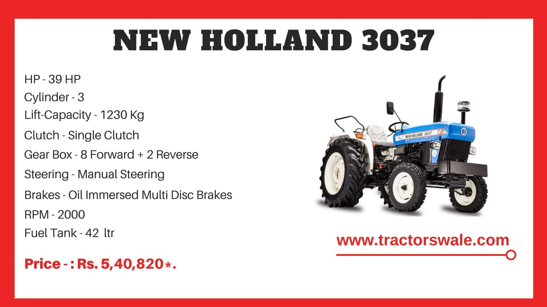 New Holland 3037 tractor price