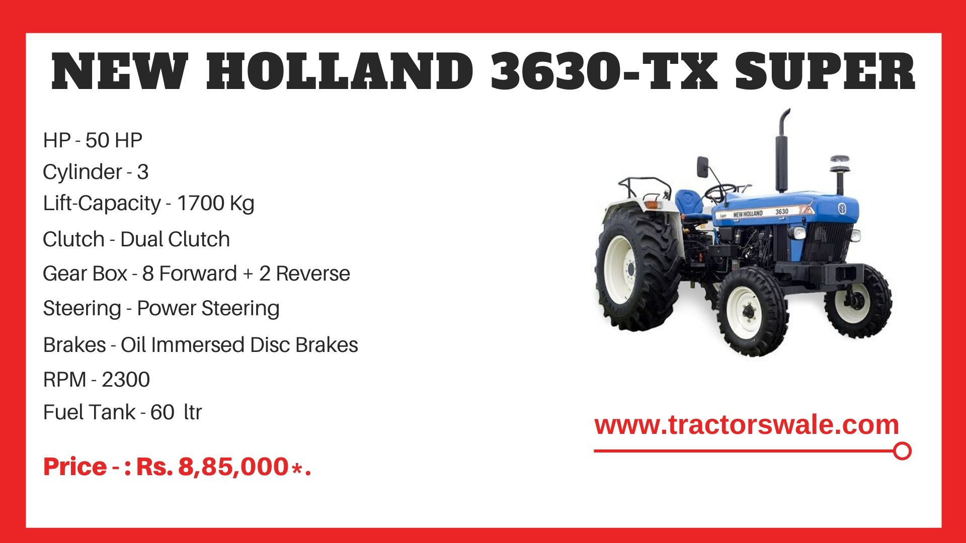 New Holland 3630 tractor specs