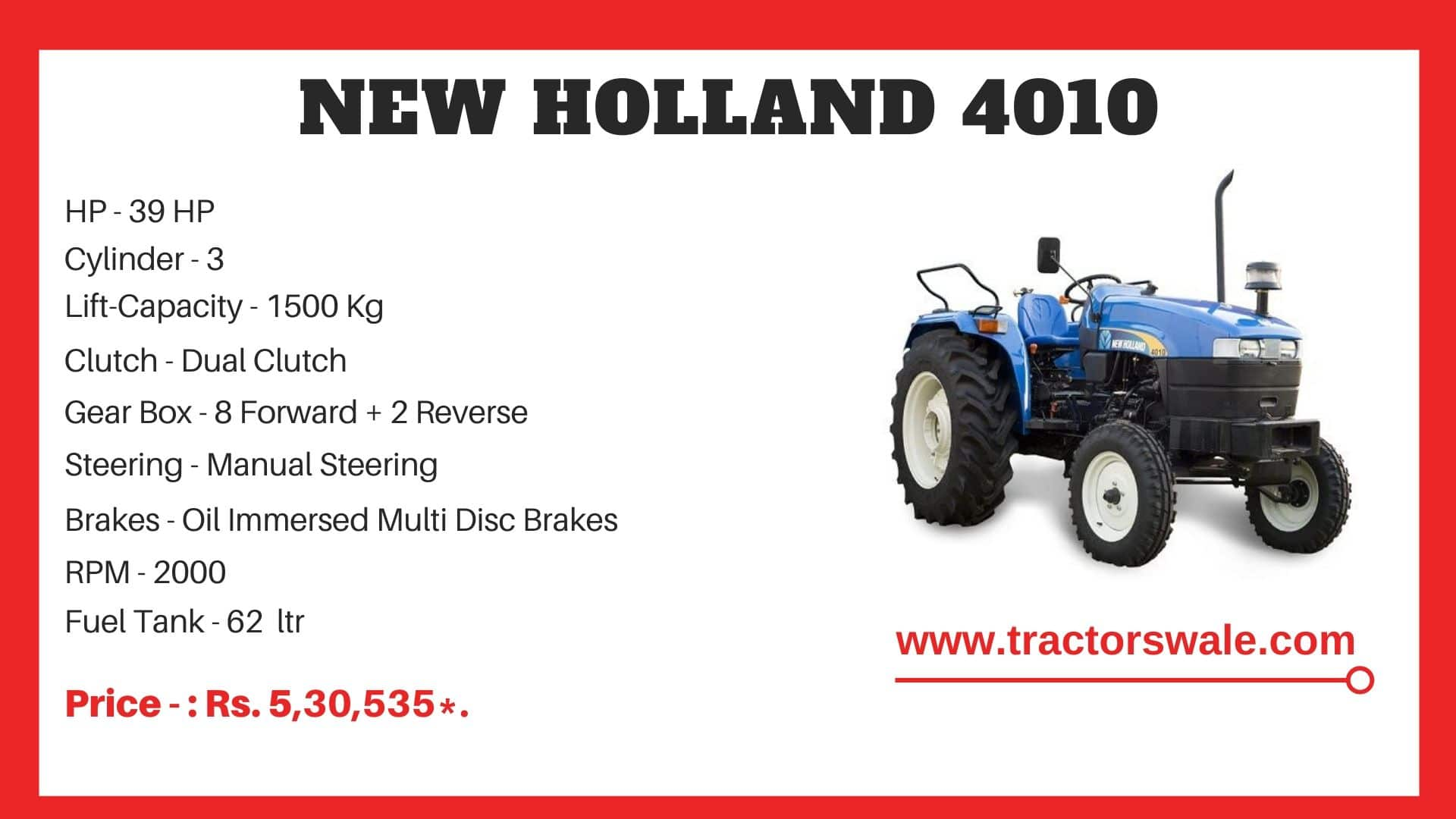 New Holland 4010 tractor specs