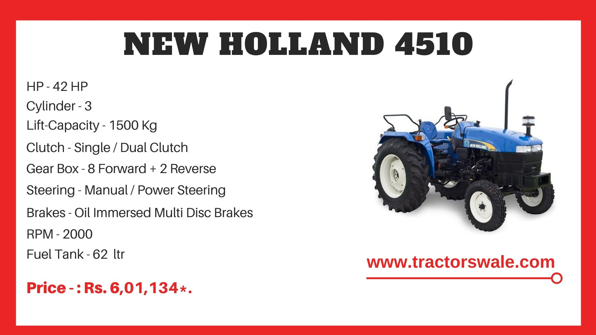 New Holland 4510 tractor specs