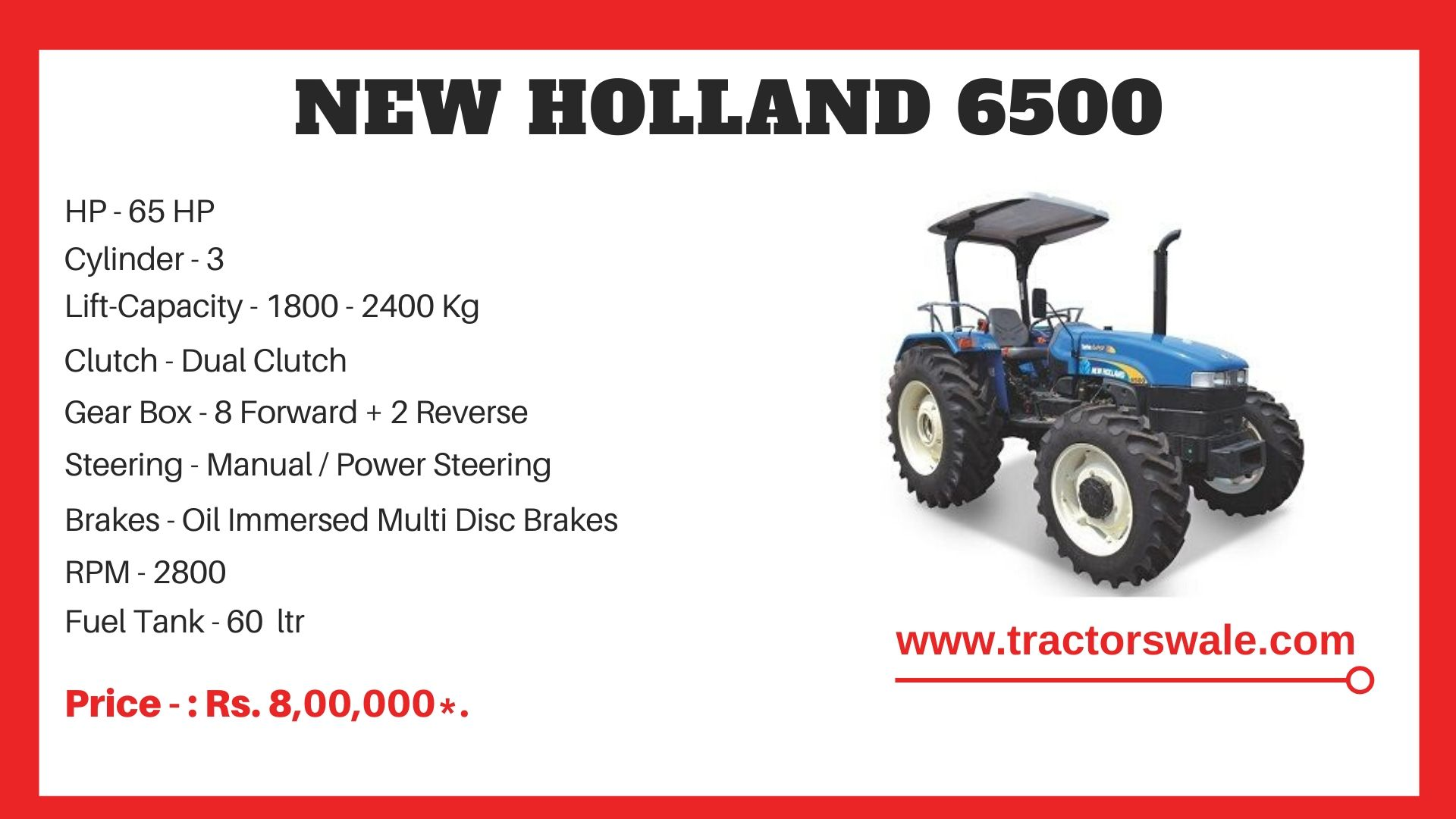 New Holland 6500 tractor price